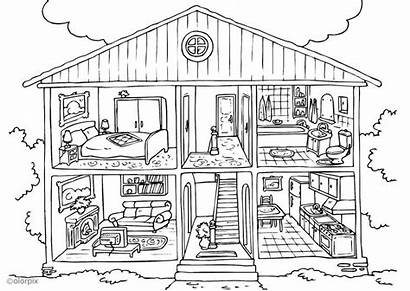 Coloring Interior Pages Printable Rooms Colouring Inside