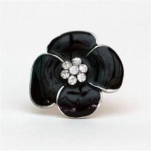bague fantaisie fleur noir et strass With bague fantaisie