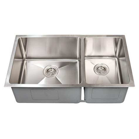 stainless steel undermount sink 32 quot optimum 60 40 offset double bowl stainless steel