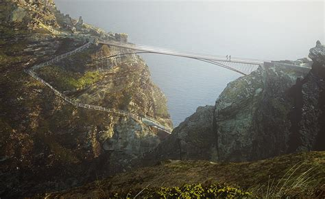 tintagel castle  receive cantilevered footbridge