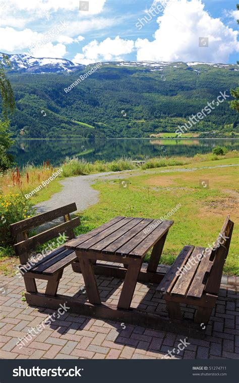 parks with picnic tables near me picnic table benches near lake norway stock photo 51274711