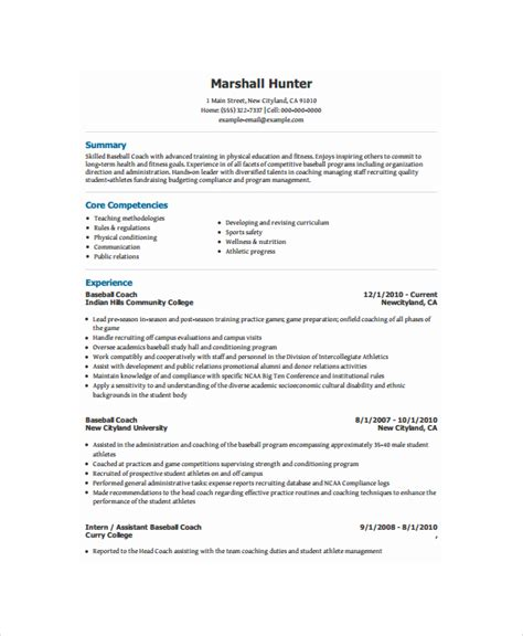Baseball Coach Resume Template coach resume template 6 free word pdf document