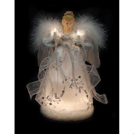 12 quot palace lighted white silver tree topper clear lights walmart - Lighted Christmas Angel Tree Topper