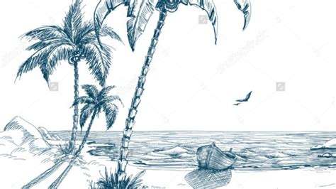 Boat On Beach Drawing by Palm Tree Beach Drawing Palm Tree Sunset Drawings Paint