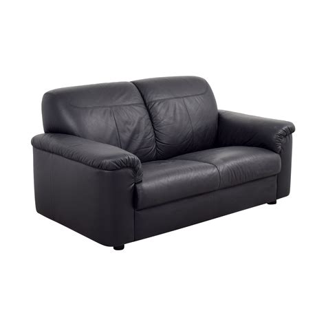 Ikea Loveseat Leather by 81 Ikea Ikea Black Leather Loveseat With Pillowed