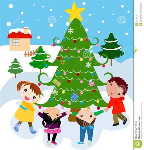 children around a beautiful festive christmas tre stock vector image 17375945