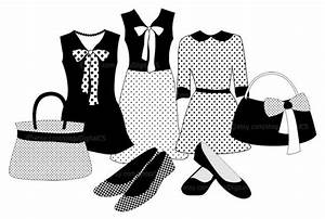 #Clipart Fashion clothes Black and White girl clip art by ...