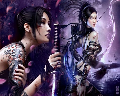 Anime Chinese Warrior Anime Tattoo Girl Blossom China Crow Female Other Sword Warrior Women