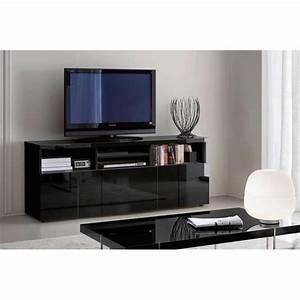 Meuble Tv Buffet : buffet meuble tv glossy noir 3 portes 4 niches achat ~ Teatrodelosmanantiales.com Idées de Décoration
