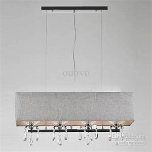 Modern dining room crystal rectangle pendant light grey
