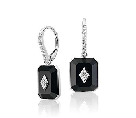 blue nile studio black onyx  diamond drop earrings