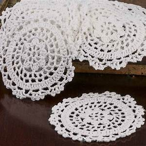 White Round Crocheted Doilies - Crochet and Lace Doilies