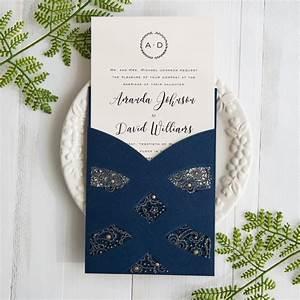 elegant navy blue laser cut pocket wedding invites swws on With wedding invitation with pocket on back