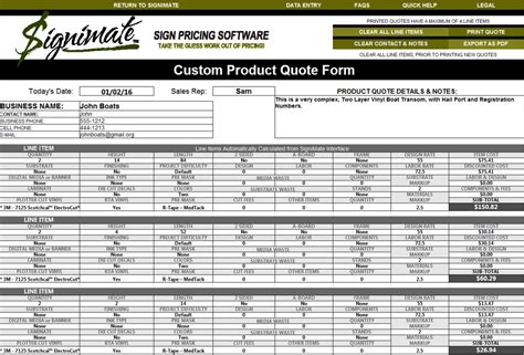 Havoc Boat Price Sheet by Signimate Tm Sign Pricing Software Quote Form