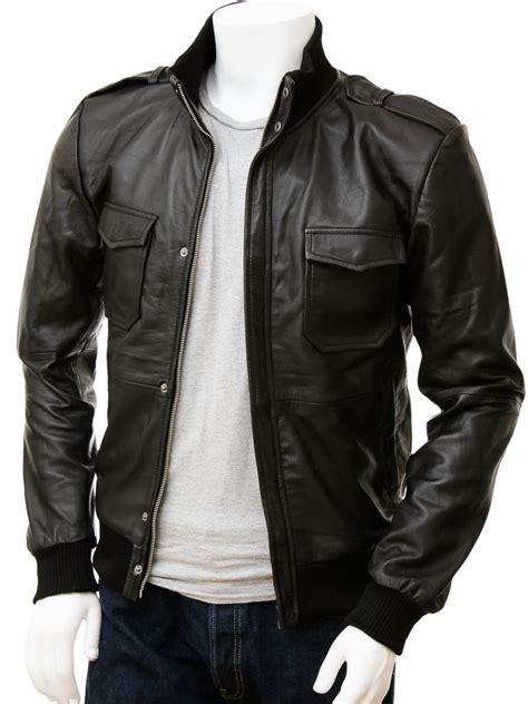 Men's Black Leather Bomber Jacket: Belgrade