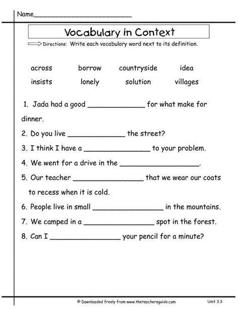 2nd grade vocabulary worksheets free library download math