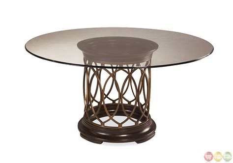 intrigue transitional glass top table chairs