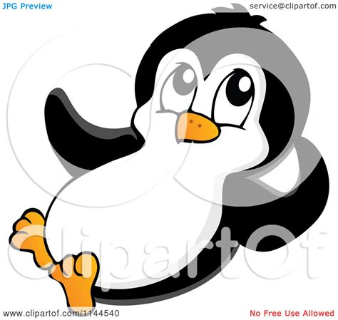 Cartoon Of A Cute Little Penguin Reclining Royalty Free