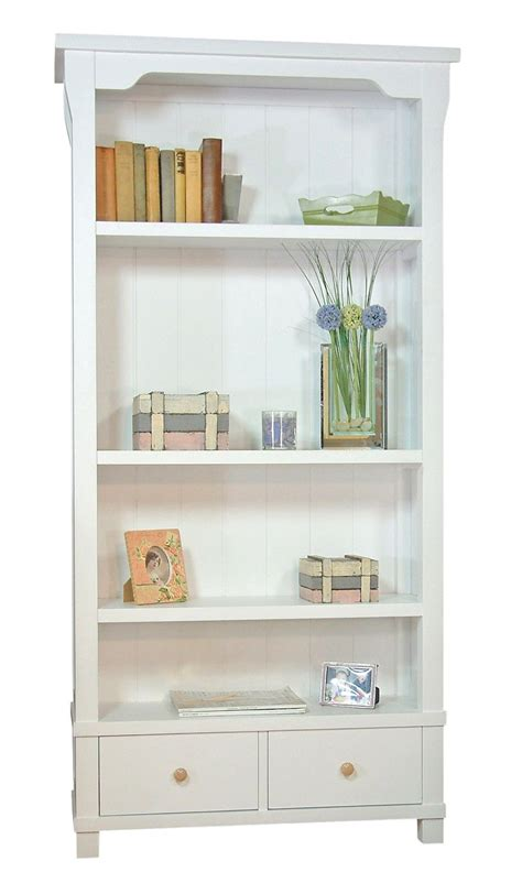 White Wood Bookcase by Country White Solid Wood Bookcase With Two Drawers