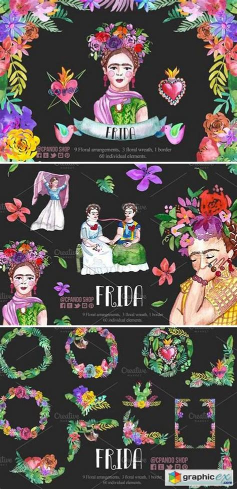 frida kahlo watercolor clip art   vector
