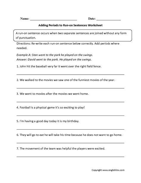 run  sentences worksheets adding periods  run