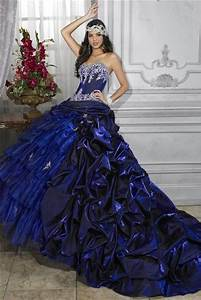 Pretty Ball Gown Royal Blue Taffeta Quinceanera Dress With ...