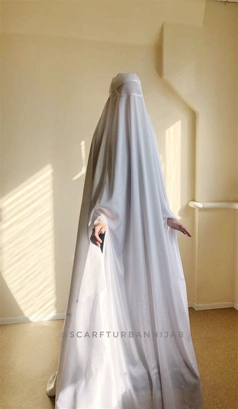 white afghan burqa silk khimar cape niqab full long