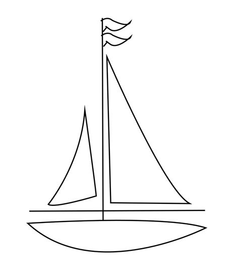 Boat Drawing Outline by Sailboat Clipart Black And White Clipground