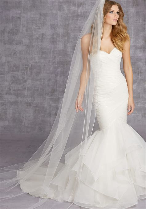 Veil Edged With Clear Beads And Crystals Style Vl1013