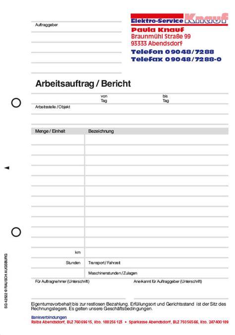 Kostenvoranschlag Garage by Formular Arbeitsauftrag Auftragsformulare Mit Durchschlag