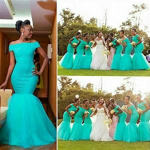 Off Shhoulder Mermaid Bridesmaid Gowns Navy Blue/Peach