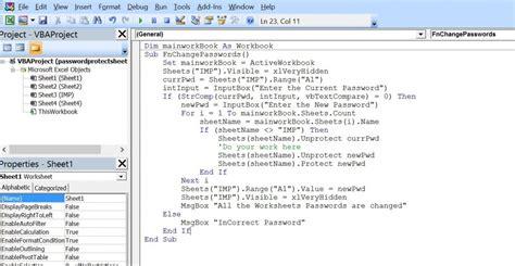 excel vba change passwords    worksheets