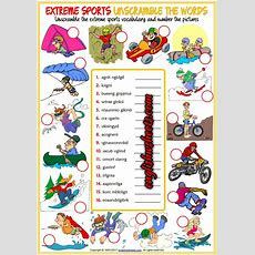 Extreme Sports Esl Printable Unscramble The Words Worksheet For Kids  M  Exercise For Kids