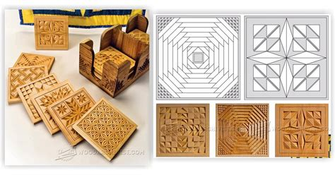 coasters chip carving patterns woodarchivist