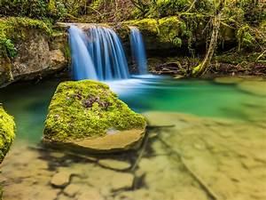 Nice, Small, Waterfall, Clear, Water, Rocks, With, Moss, Hd
