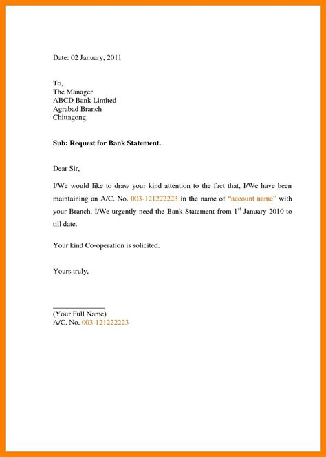 Request For Cover Letter by Request Letter For Bank Statement Format Sle Fresh