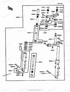 Kawasaki Motorcycle 1988 Oem Parts Diagram For Front Fork