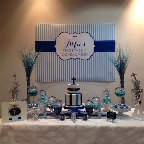 Baptism Decoration Ideas For Boy by Holy Communion Printable Backdrop Banner Candy Buffet In