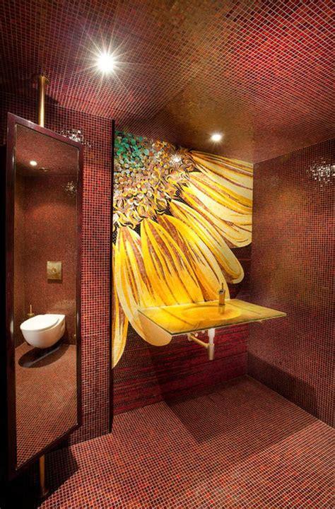 bathroom mosaic wall flower sunflower room sunflowers tiles backsplash mirror decor modern ceiling sicis decorating rooms tile murals inspired bedroom