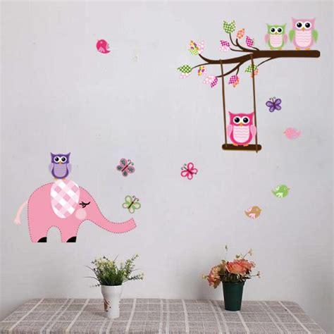 muursticker babykamer olifant muursticker olifant en uilen op takken met bloemen