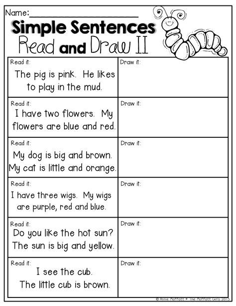 Read And Draw! Read The Simple Sentences And Draw A Picture To Match!  Kinderfun Collaborative