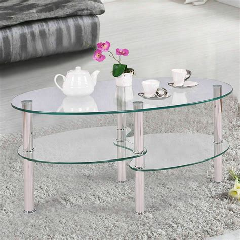 Living Room Side Tables Ebay by New Tempered Glass Oval Side Coffee Table Shelf Chrome
