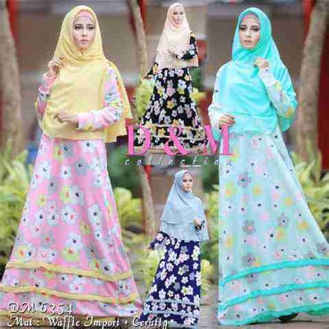 Gamis Wafle Motif Bunga gamis remaja a122 waffel model baju muslim terbaru