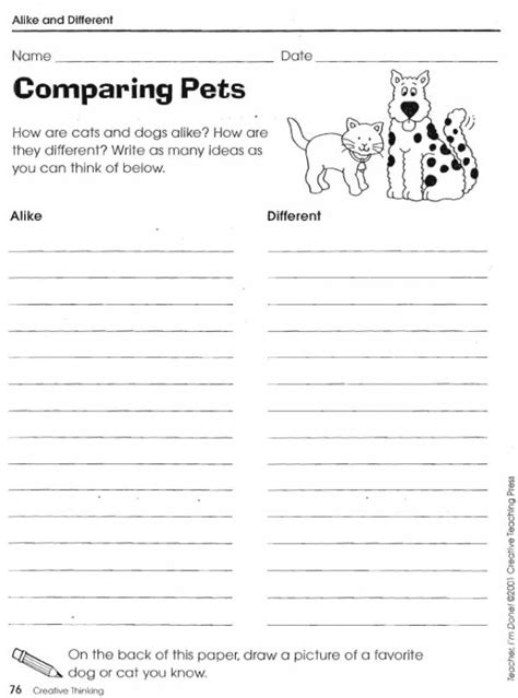 Compare And Contrast Worksheets Lovetoteachorg
