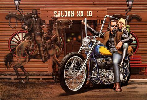 David Mann Motorcycle Art Poster Saloon No. 10 By Darkartink