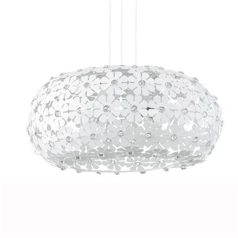 eglo 92284 hanifa white flower large globe pendant light
