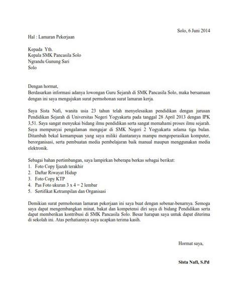 contoh surat lamaran kerja guru sejarah ben