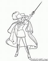 Coloring Musketeer Musketeers Costume Brave sketch template