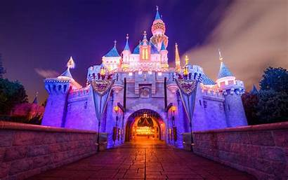 Disneyland Castle Background Wallpapers Night 4k Buildings