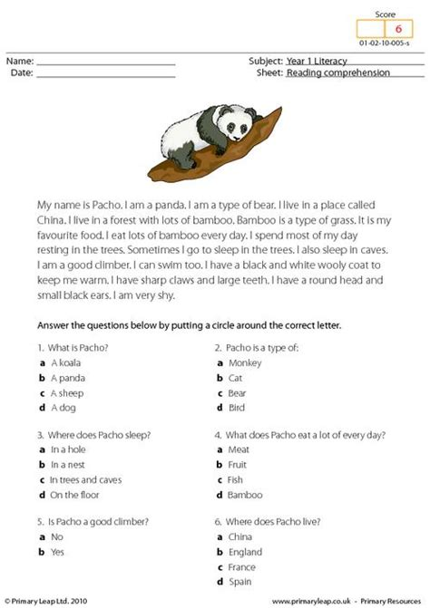 subjects students read  text   panda  answer
